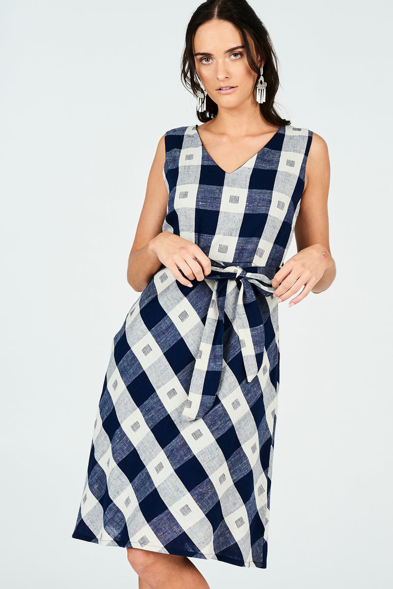PRE ORDER Amber Dress Navy Check