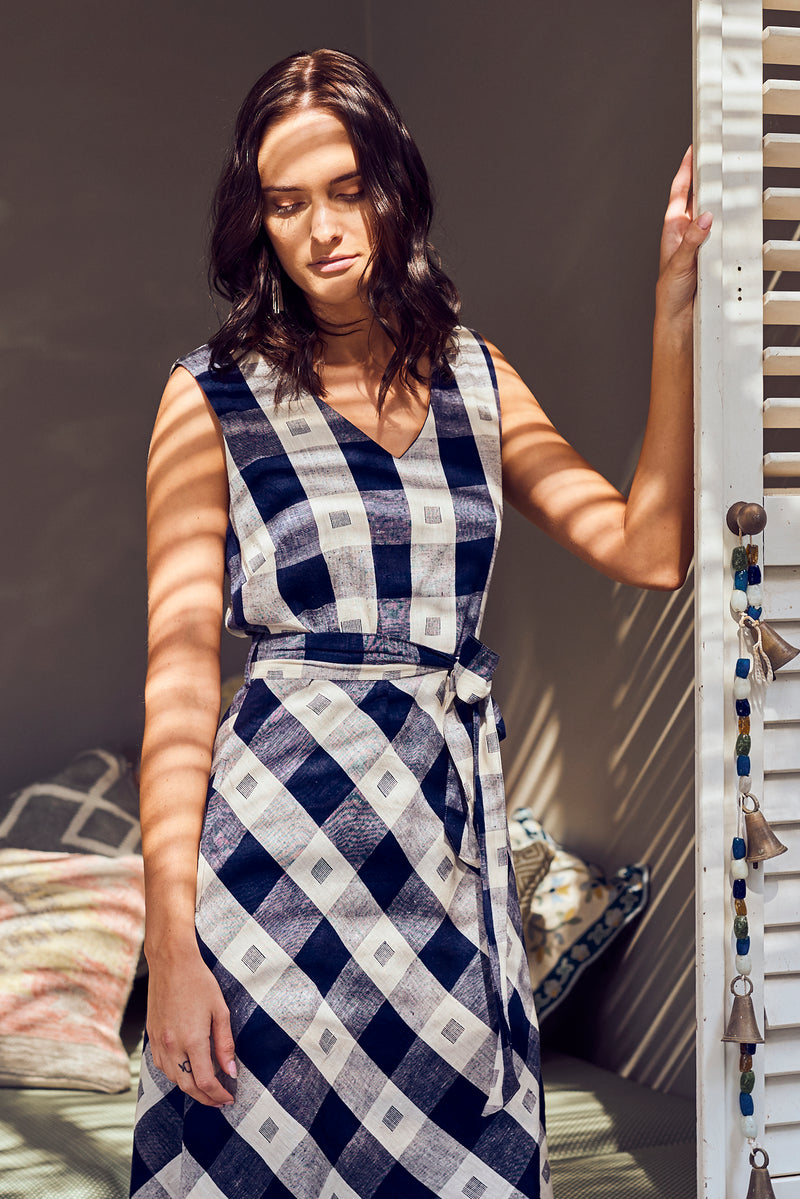 Amber Dress Navy Check