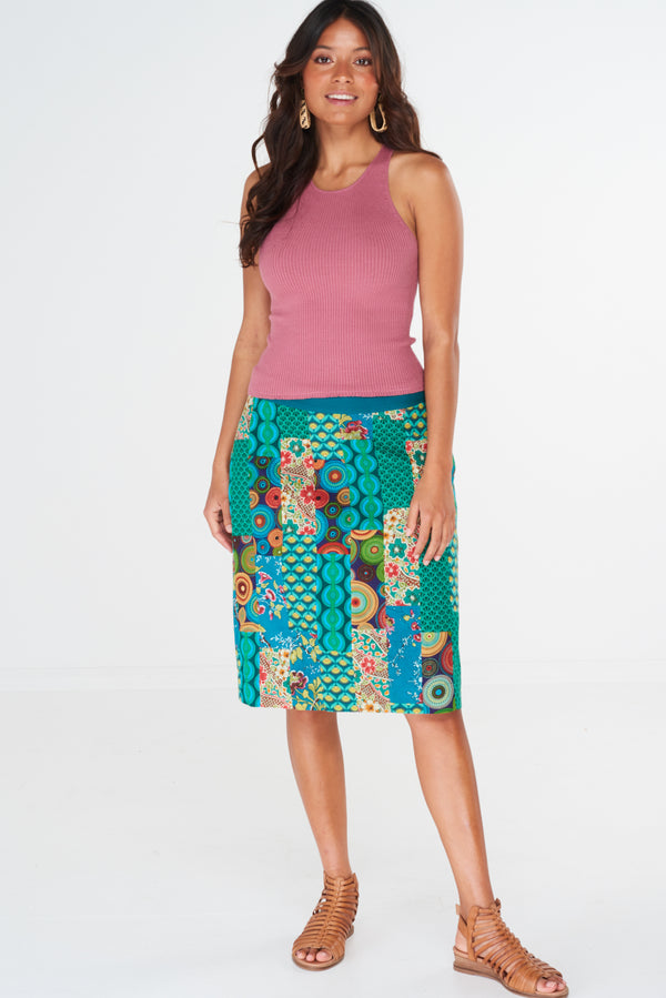 Amity Skirt Patchwork Green