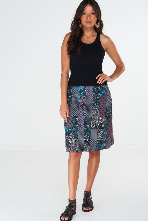 Amity Skirt Patchwork Black