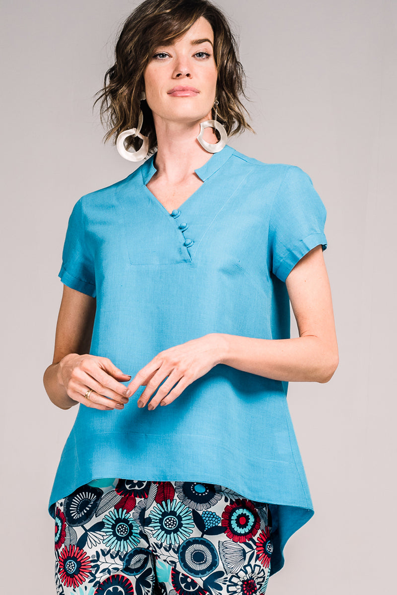 Anita Shirt Cap Sleeve Sailor Blue