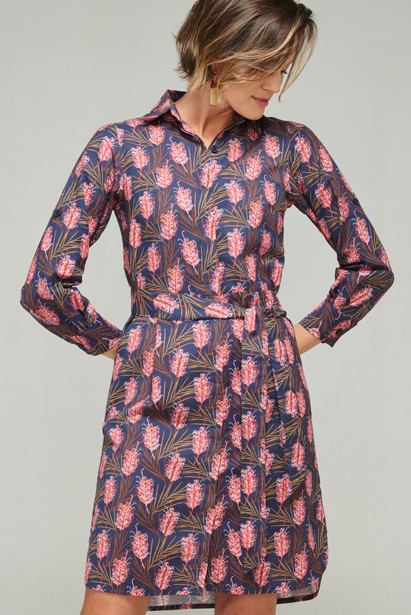 Annie Dress Grevillea Navy