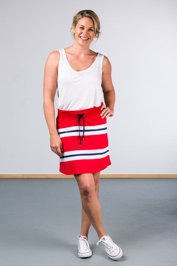 Messina Skirt Red Nautical Stripe