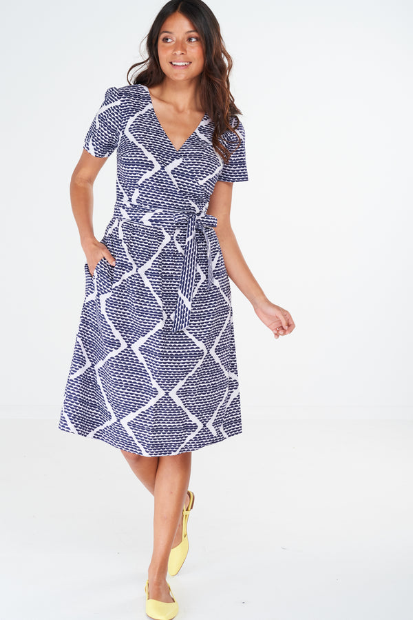 Charm Wrap Dress Zig Zag Scales