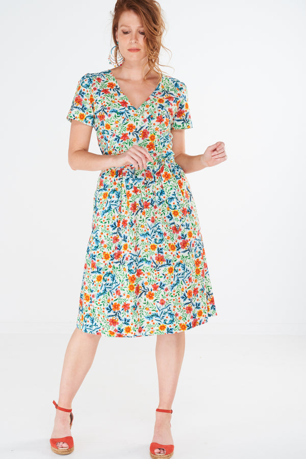 Charm Wrap Dress Wildflower White