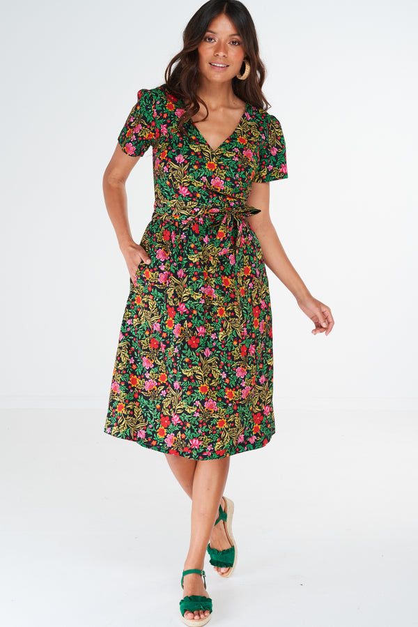 Charm Wrap Dress Wildflower Black