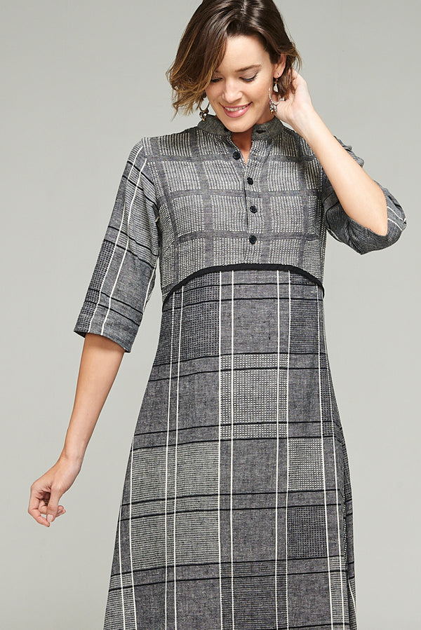 Cinders Dress Charcoal Check