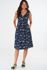 Dana Dress Agapanthus Navy