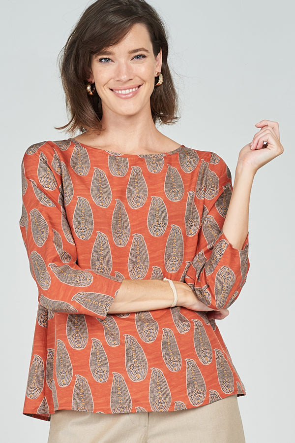 Megan Top Coral Leaf