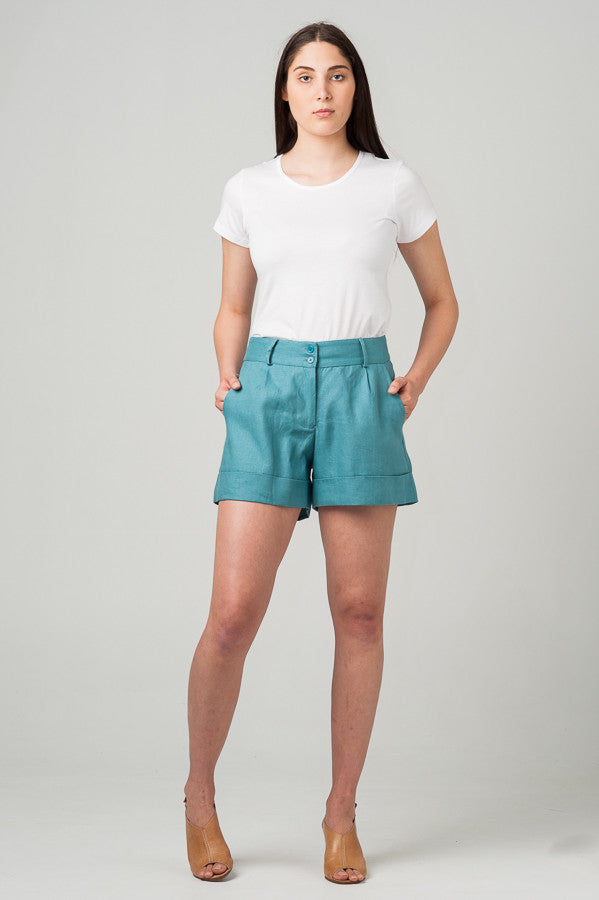 Rome Shorts Teal Blue