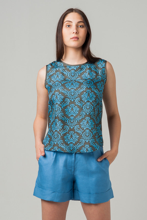 Maya Tank Blue Filigree