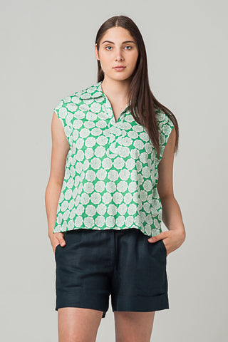 Ravi Shirt Emerald Poppies
