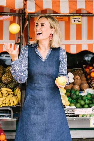 Polly Pinafore Deep Sea Denim