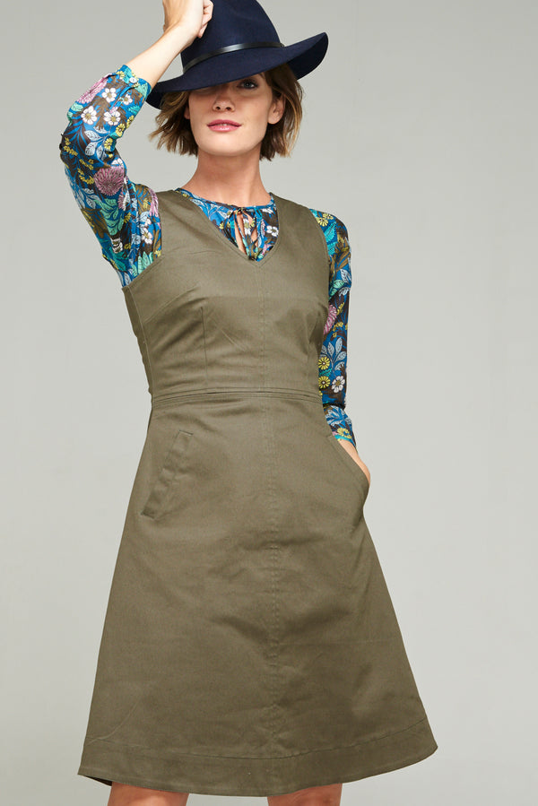 Polly Pinafore Forest Twill