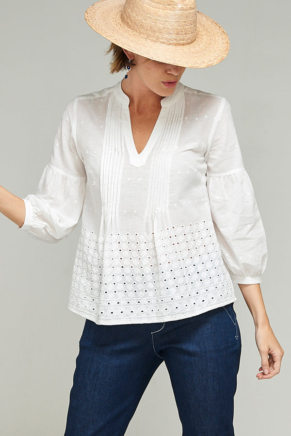 Priya Shirt Embroidered White