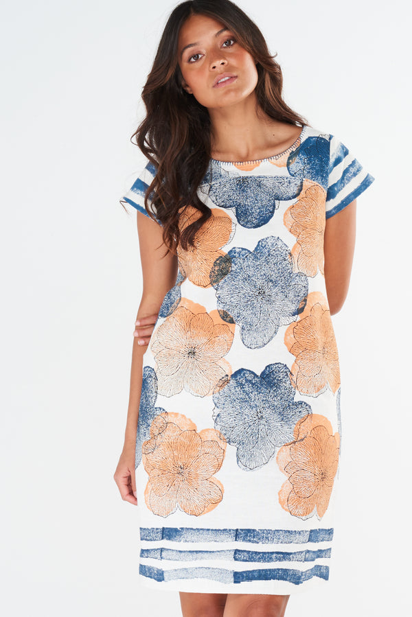 Tori Dress Honey Navy Flower