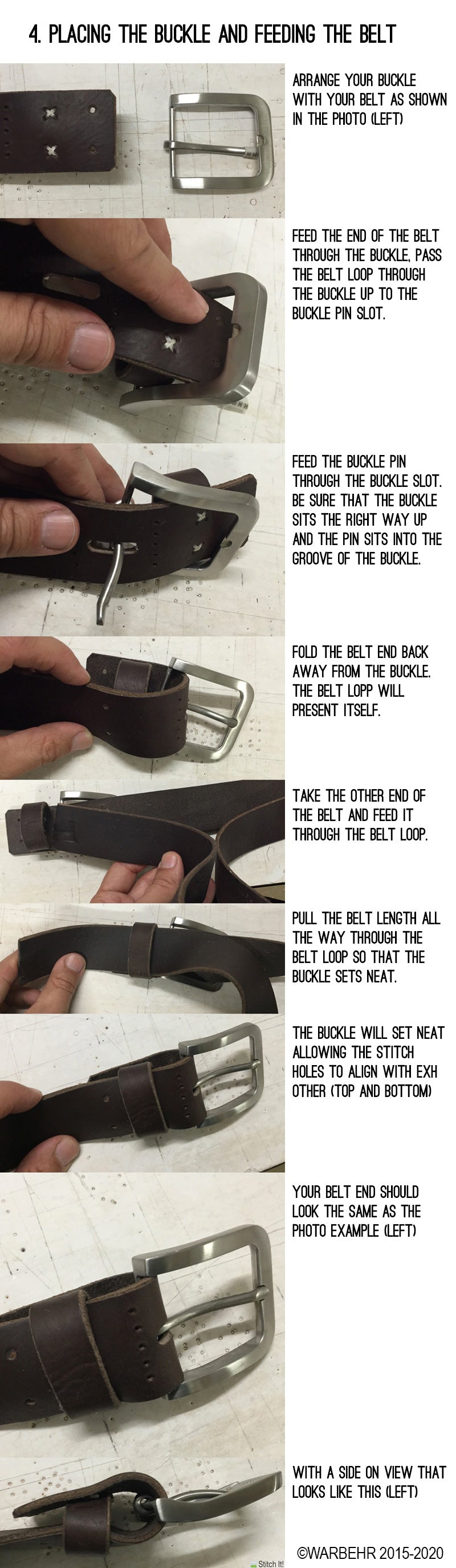 Every Mans Belt Instructions - Placing the buckle and feeding the belt. WarBehr