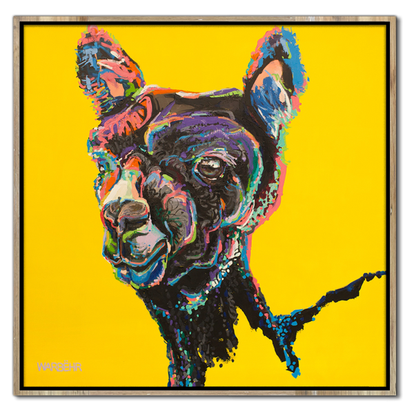 Alpaca on Mustard Art Print