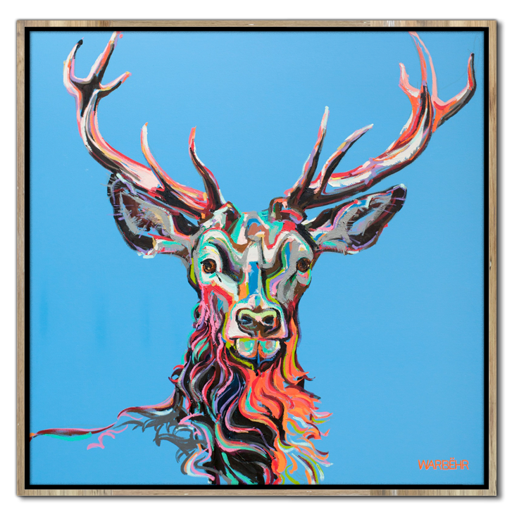 Buck on Blue Art Print