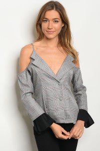 Checked Cold Shoulder Blouse