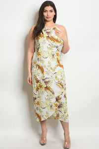 Maxi Floral Dress/Plus Size