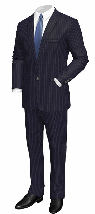 M Status Custom Made Suit-Regular Single Breasted Pinstriped
