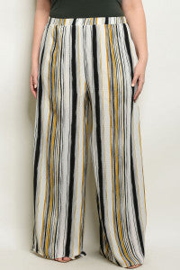 Black & Mustard Stripe Pants/Plus SIzes