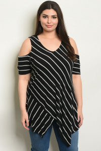 Black Stripe Shoulder Out top/Plus Sizes