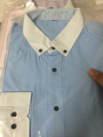 M Status Light Blue Formal/Dress Shirt