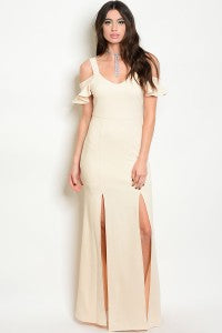 Open Shoulder Front Split Gown/Online