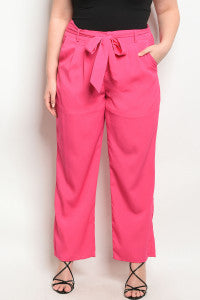 Fuchsia Pant With Belt/Plus Size
