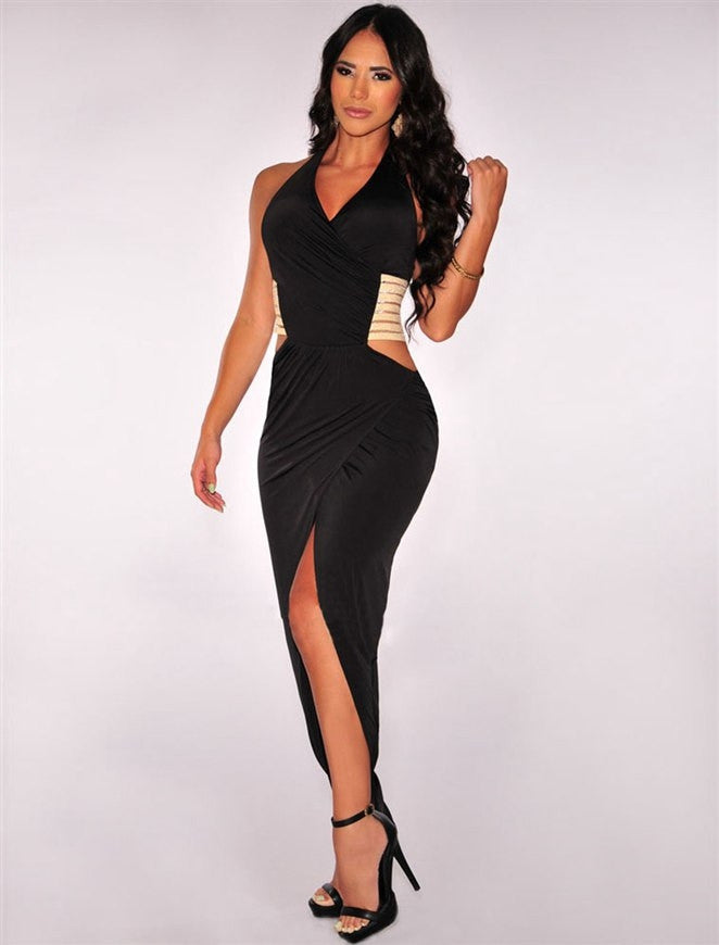 Gold Stripe Cut Out Halter Dress