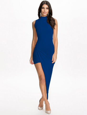 High Neck Rouched Dress Blue