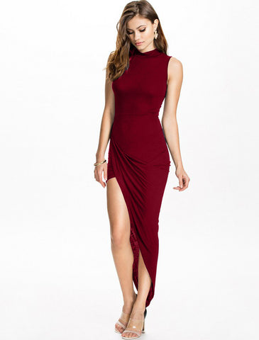High Neck Rouchced Dress Red
