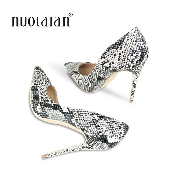 Snake Print Women Sexy Stilettos 12CM High Heels
