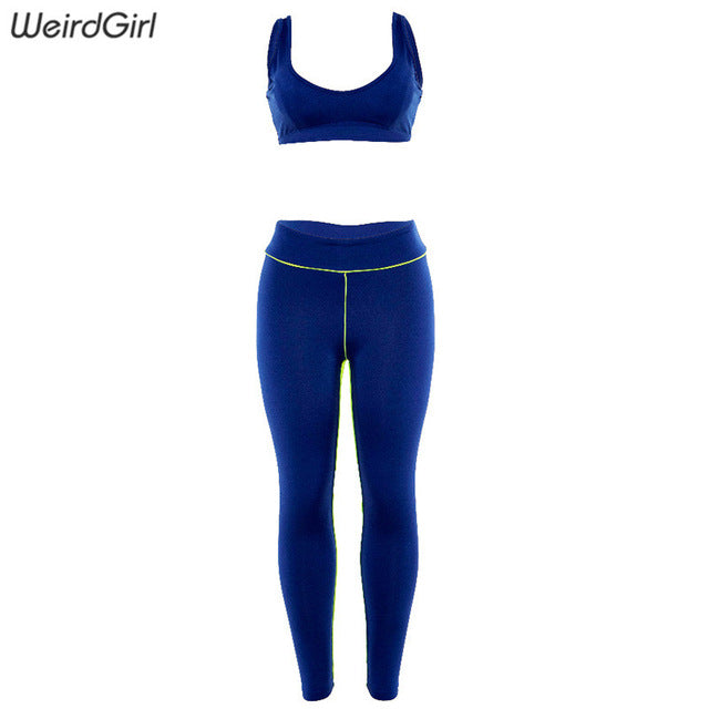 Weirdgirl Women Basic Elastic Slim Fitness Two Pieces Set