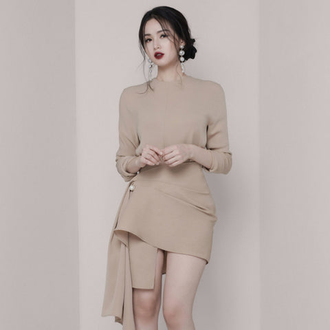 European  O-neck Slim Bodycon Dress