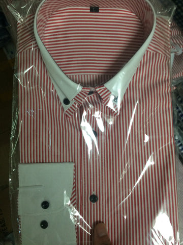 M Status, Red & White Stripe Formal/Dress Shirt