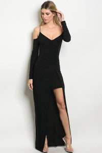 V Neck/Slit Maxi Dress