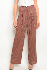 Wine Brown Pants With Lace