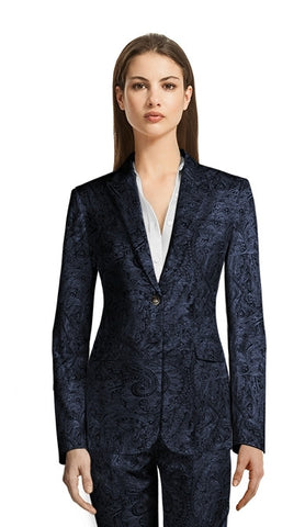 Women's Paisley Blue Corporate Pant Suit/Custom Made