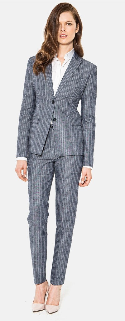 Custom Made Women's Business Pinstripe pant Suit