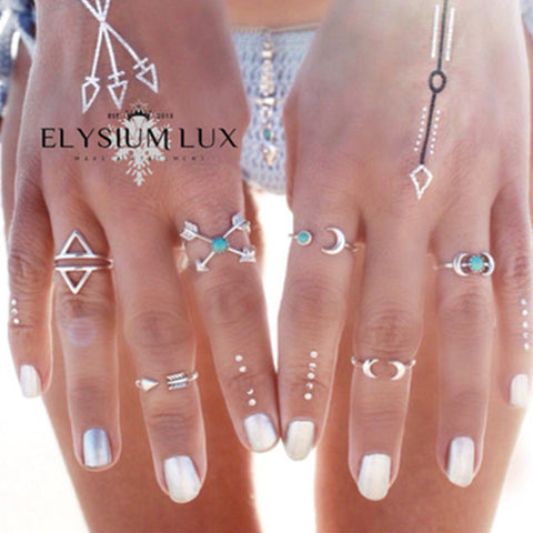 Clara Silver/Gold & Turquoise Stylish Adornment Ring Set - Elysium Lux  - 1