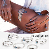 Clara Silver/Gold & Turquoise Stylish Adornment Ring Set - Elysium Lux  - 3