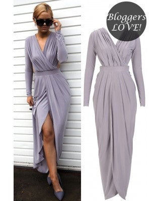 SLINKY GODDESS MAXI DRESS - Grey - Elysium Lux  - 1