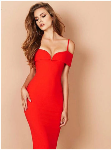MELANA BANDAGE DRESS - RED