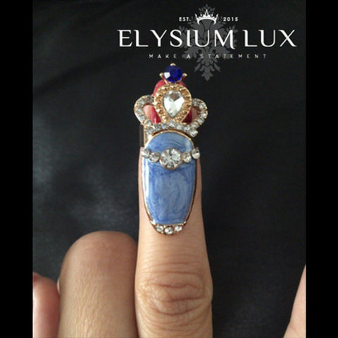 Jenna Crown Jewel Marble Blue Finger Ringlet - Elysium Lux  - 1