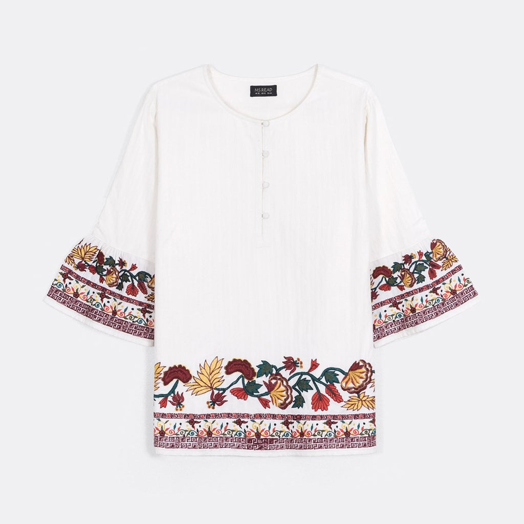 Embroidered Border Top
