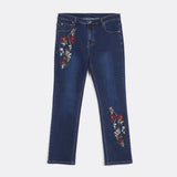 Straight-Cut Embroidered Jeans