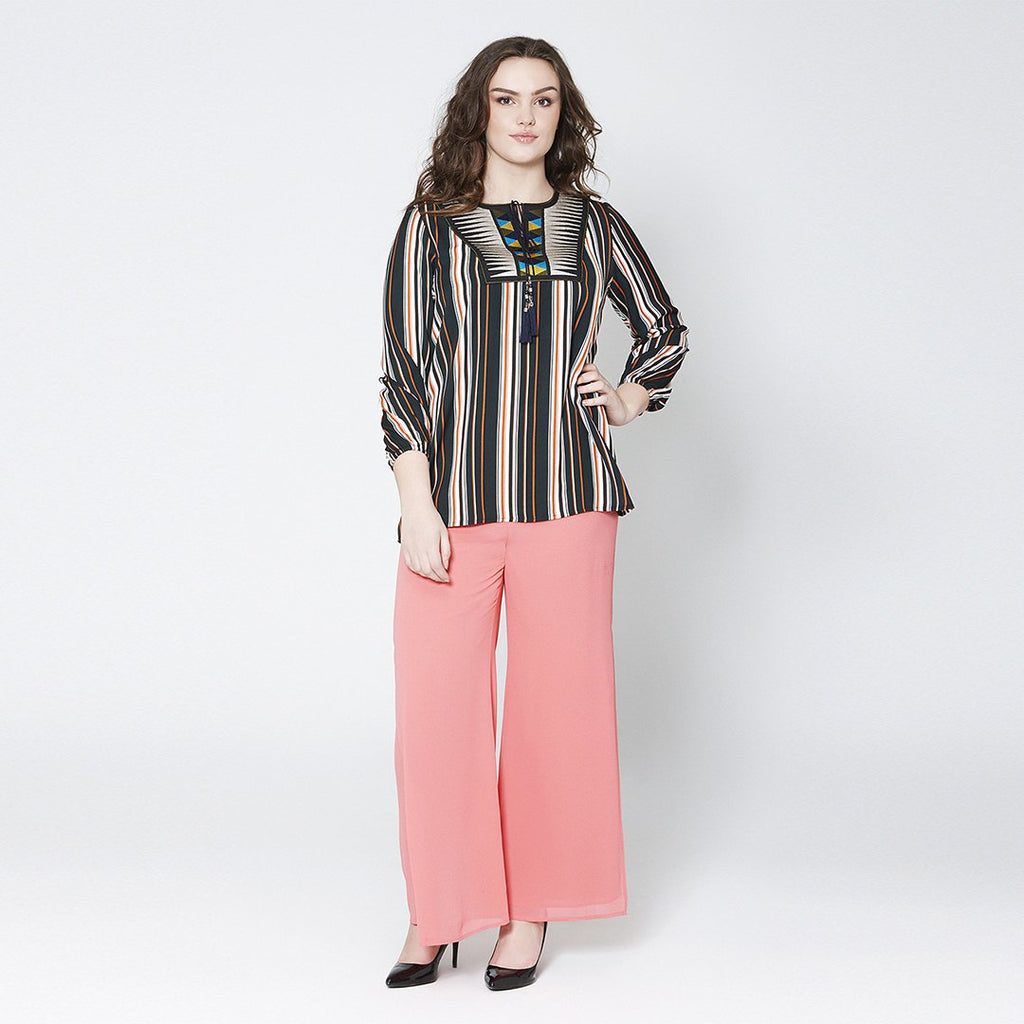 Stripe Peasant Top
